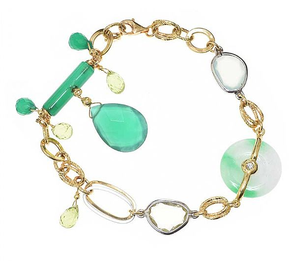 18CT GOLD QUARTZ, JADE, DIAMOND AND PERIDOT BRACELET at Ross's Online Art Auctions