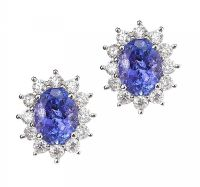 18CT WHITE GOLD TANZANITE AND DIAMOND EARRINGS at Ross's Jewellery Auctions