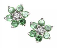 18CT WHITE GOLD DIAMOND AND PERIDOT EARRINGS at Ross's Jewellery Auctions