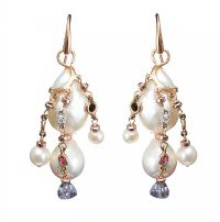 18CT ROSE GOLD PEARL, DIAMOND, RUBY, PERIDOT AND AMETHYST EARRINGS at Ross's Jewellery Auctions