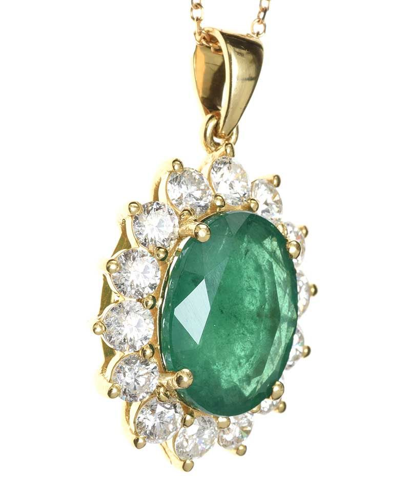 18CT GOLD EMERALD AND DIAMOND NECKLACE at Ross's Online Art Auctions