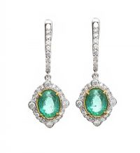 18CT WHITE GOLD EMERALD AND DIAMOND EARRINGS at Ross's Auctions