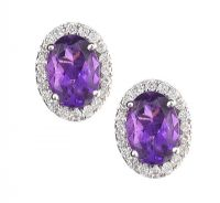 18CT WHITE GOLD AMETHYST AND DIAMOND EARRINGS at Ross's Auctions