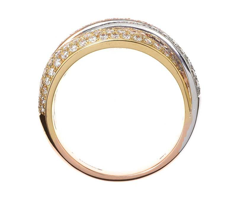 18CT GOLD, WHITE GOLD AND ROSE GOLD DIAMOND RING at Ross's Online Art Auctions
