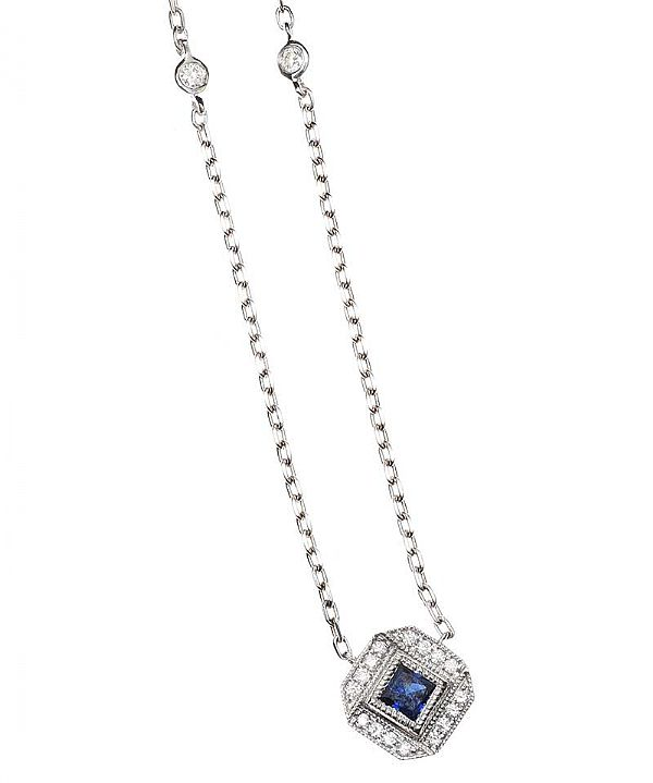 18CT WHITE GOLD SAPPHIRE AND DIAMOND NECKLACE at Ross's Online Art Auctions