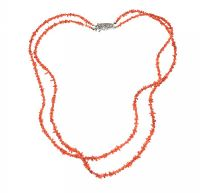 DOUBLE STRAND OF CORAL BEADS WITH SILVER CLASP at Ross's Jewellery Auctions