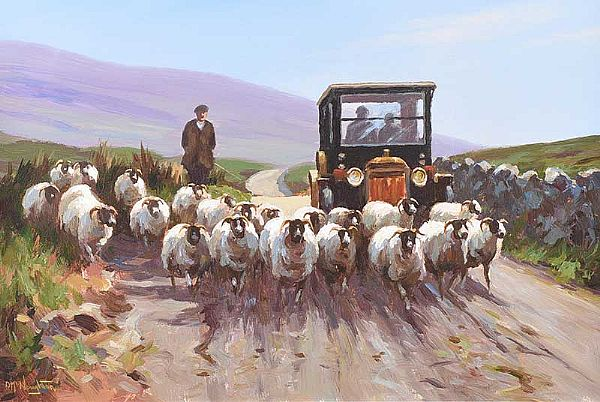 DRIVING SHEEP IN THE GLENS by Donal McNaughton at Ross's Online Art Auctions