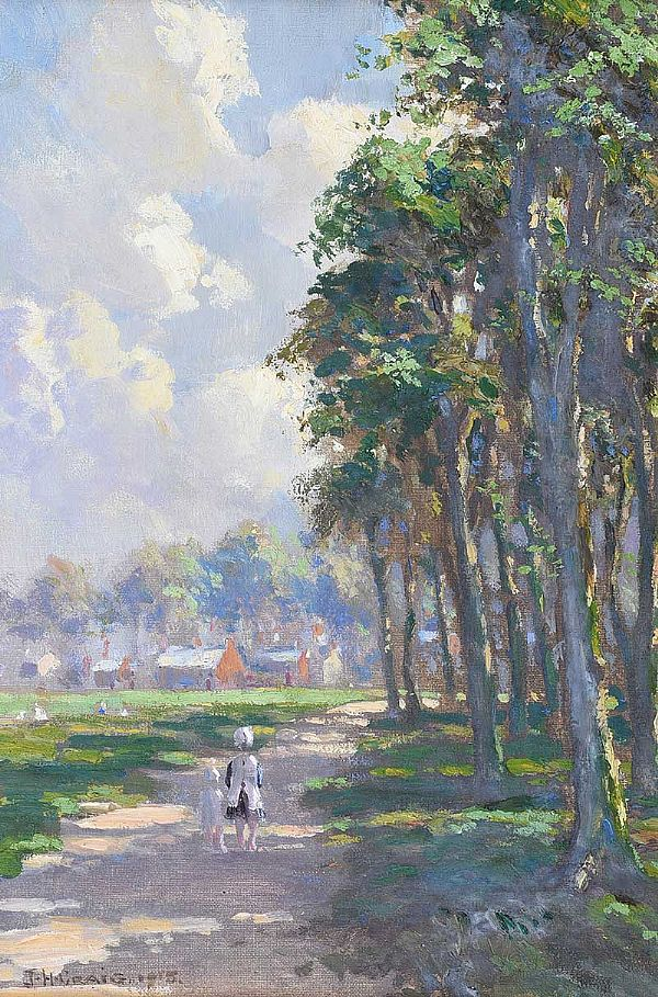 CHILDREN ON THE PATH BY THE TREES by James Humbert Craig RHA RUA at Ross's Online Art Auctions