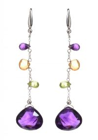 18CT WHITE GOLD DROP EARRINGS SET WITH AMETHYST, PERIDOT AND CITRINE at Ross's Jewellery Auctions