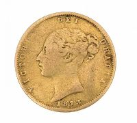 VICTORIAN HALF-SOVEREIGN COIN 1873 at Ross's Jewellery Auctions