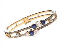 9CT GOLD BANGLE SET WITH SAPPHIRE AND DIAMOND at Ross's Jewellery Auctions