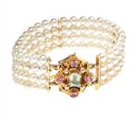 VINTAGE FOUR ROW PEARL BANGLE WITH GEM-SET GOLD CLASP at Ross's Jewellery Auctions