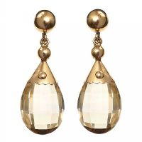 VINTAGE 18CT GOLD DROP EARRINGS SET WITH CITRINE at Ross's Jewellery Auctions