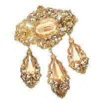 GEORGIAN FINE GOLD BROOCH/PENDANT SET WITH CITRINE at Ross's Jewellery Auctions