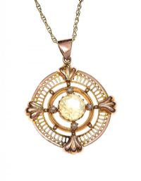 EDWARDIAN 9CT GOLD CITRINE AND SEED PEARL NECKLACE at Ross's Jewellery Auctions