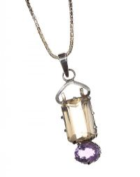 SILVER CITRINE AND AMETHYST NECKLACE at Ross's Jewellery Auctions