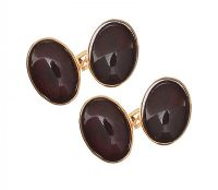 9CT GOLD CABOCHON-CUT GARNET CUFFLINKS at Ross's Jewellery Auctions