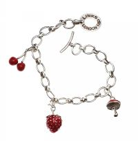 LINKS OF LONDON STERLING SILVER RED ENAMEL CHARM BRACELET at Ross's Jewellery Auctions