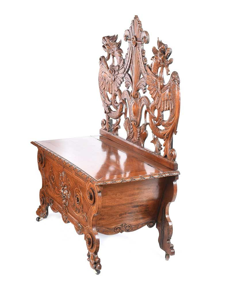 CARVED WALNUT MONK'S BENCH at Ross's Online Art Auctions