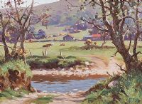 CATTLE BY THE RIVER DUN by Donal McNaughton at Ross's Auctions