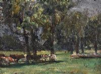 CATTLE GRAZING BY TREES by Irish School at Ross's Auctions