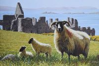 SHEEP BY DUNLUCE CASTLE by Keith Glasgow at Ross's Auctions