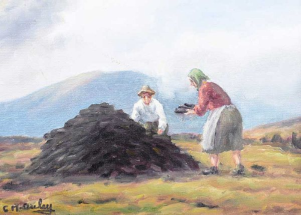 STACKING TURF by Charles McAuley at Ross's Online Art Auctions
