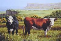 COWS ON THE ANTRIM COAST by Keith Glasgow at Ross's Auctions