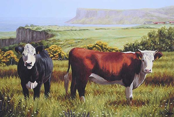 COWS ON THE ANTRIM COAST by Keith Glasgow at Ross's Online Art Auctions