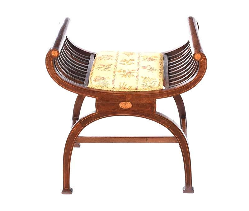 EDWARDIAN INLAID MAHOGANY CRADLE STOOL at Ross's Online Art Auctions