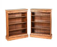 PAIR OF REGENCY STYLE WALNUT OPEN BOOKCASES at Ross's Auctions