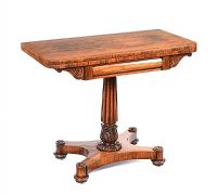 WILLIAM IV ROSEWOOD  TURN OVER LEAF CARD TABLE at Ross's Auctions