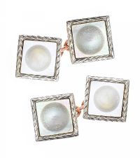 ANTIQUE 9CT GOLD MOTHER-OF-PEARL CUFFLINKS at Ross's Jewellery Auctions