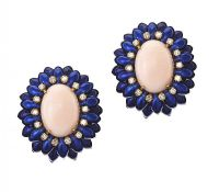 18CT GOLD CORAL, ENAMEL AND DIAMOND EARRINGS at Ross's Jewellery Auctions