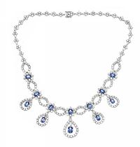 18CT WHITE GOLD CEYLON SAPPHIRE AND DIAMOND NECKLACE at Ross's Online Art Auctions