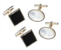 TWO PAIRS OF SILVER ONYX AND MOTHER OF PEARL CUFFLINKS at Ross's Jewellery Auctions