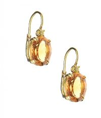 18CT GOLD CITRINE AND YELLOW DIAMOND EARRINGS at Ross's Jewellery Auctions