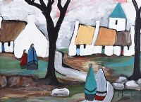 ON THE PATH THROUGH THE VILLAGE by Irish School at Ross's Auctions