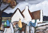 THE BLUE GATE BY THE THATCHED COTTAGE by Irish School at Ross's Auctions