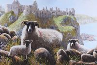SHEEP AT DUNLUCE CASTLE by Keith Glasgow at Ross's Auctions