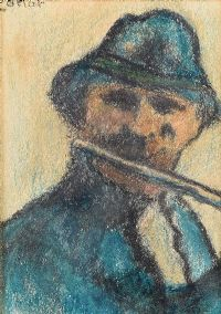PLAYING THE FLUTE by William Conor RHA RUA at Ross's Auctions