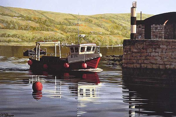 FISHING BOAT, BALLINTOY HARBOUR, COUNTY ANTRIM by Keith Glasgow at Ross's Online Art Auctions
