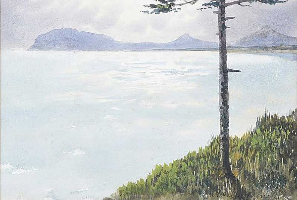TREE BY THE SHORE WITH DISTANT MOUNTAINS by William Percy  French at Ross's Online Art Auctions