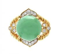 18CT GOLD JADE AND DIAMOND RING by Jade at Ross's Auctions