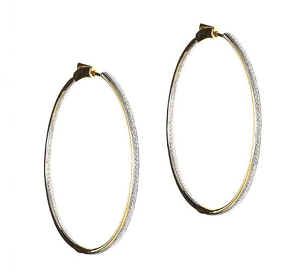 18CT GOLD DIAMOND HOOP EARRINGS at Ross's Online Art Auctions