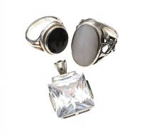SILVER CRYSTAL PENDANT AND TWO SILVER RINGS at Ross's Jewellery Auctions