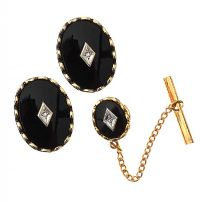 ONYX AND DIAMOND CUFFLINK SET at Ross's Jewellery Auctions