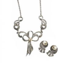MARCASITE AND PEARL NECKLACE AND EARRING SET at Ross's Jewellery Auctions