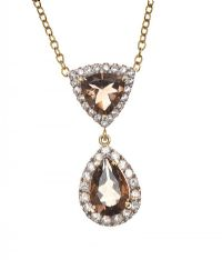 14CT GOLD SMOKEY QUARTZ AND SAPPHIRE PENDANT ON 9CT GOLD CHAIN at Ross's Jewellery Auctions