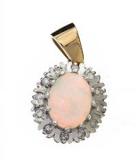9CT WHITE GOLD OPAL AND DIAMOND PENDANT at Ross's Jewellery Auctions